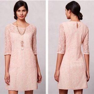 Anthro Maeve Peach Lace Lefkara Dress Medium